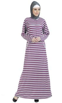Knitted Purple Striped Cotton Blend Amatullah Abaya - As Pictured