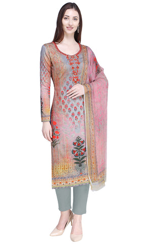 Allover Digital Print With Contrast Resham Embroidery Work With Jari & Crystal-Final Sale