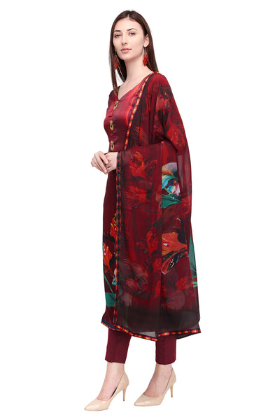 Maroon Colored Satin Salwar Kameez Set- Final Sale
