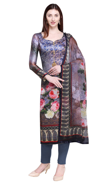 Multi Colored Satin Salwar Kameez Set- Final Sale