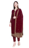 Wine Georgette Salwar Kameez Set- Final Sale