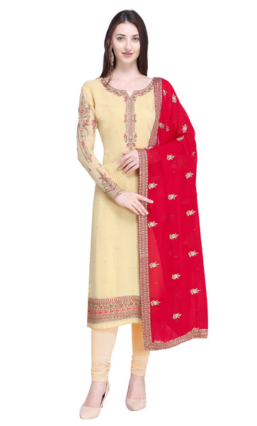 Beige Georgette Salwar Kameez Set-Final Sale