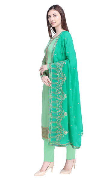 Green Georgette Salwar Kameez Set-Final Sale
