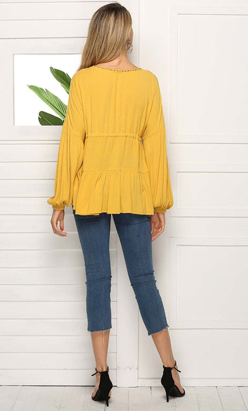 Drawstring Casual Everyday Tee (Yellow) *Size Up*
