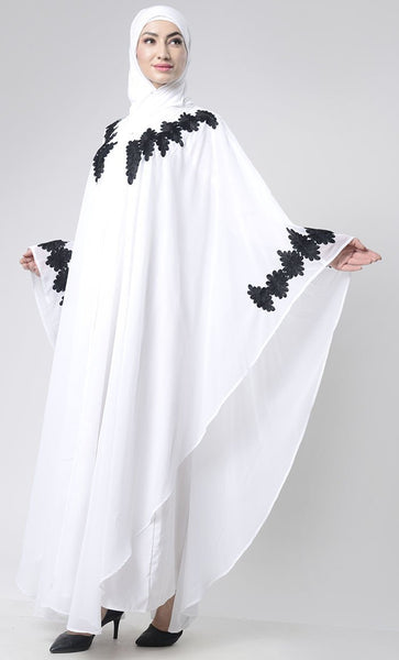 2 Layer Embroidered Upper Abaya - EastEssence.com