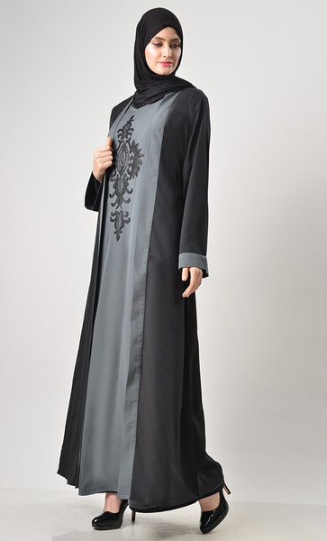 2 Layer Set Abaya-Grey & Black - EastEssence.com