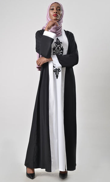 2 Layer Set Abaya-White & Black - EastEssence.com