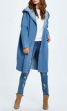 Loose Hooded Denim Jacket-Light Blue - *Size Up*