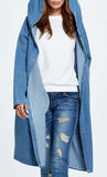 Loose Hooded Denim Jacket-Light Blue
