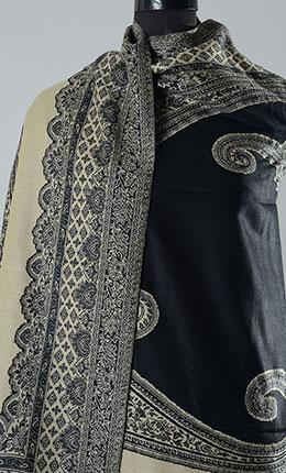 Kashida Black Filled Style Pashmina Shawl- Final Sale Item - As Pictured