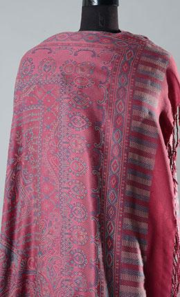 Lihaaz Pink Filled Style Pashmina Shawl- Final Sale Item - As Pictured