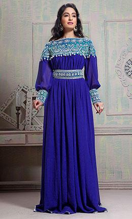 Tantalizing Blue Color Maxi Full Sleeve Kaftan Dress-Final Sale