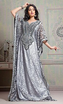 Scintillating Black & White Handmade Designer Kaftan-Final Sale