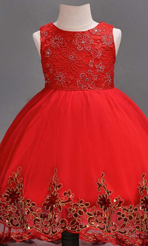 Adorable Princess Girl's Dress (Red)-*Special Sizing*