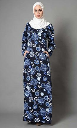 Floral Printed Crepe Abaya - As Pictured