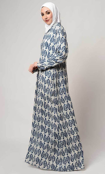 Leaf print collar neck abaya_As pictured_Side_View
