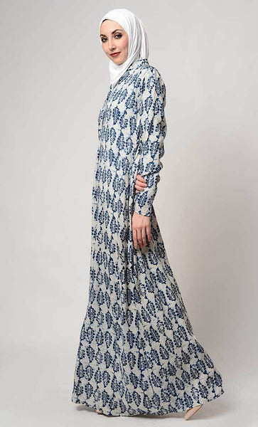 Leaf print collar neck abaya_As pictured_Alt_View