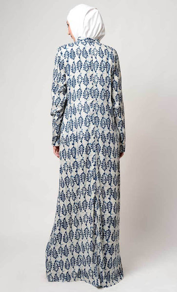 Leaf print collar neck abaya_As pictured_Back_View