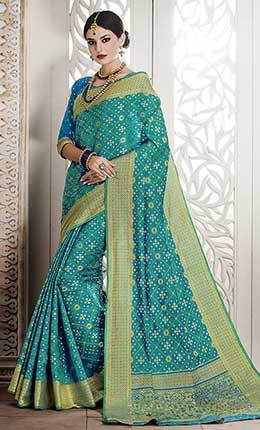 Geometric Jacquard Woven Design Sky Blue Saree-Final sale item