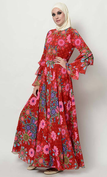 Floral print flared abaya dress_As Pictured_Side_View