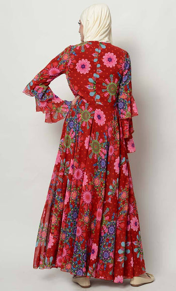 Floral print flared abaya dress_As Pictured_Alt_View