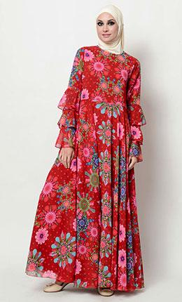 Floral print flared abaya dress - As Pictured