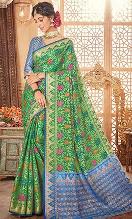Jacquard floral Woven Design Green Saree-Final sale item