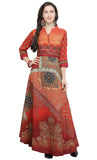 Orange Art Silk Printed Kurti-Final Sale