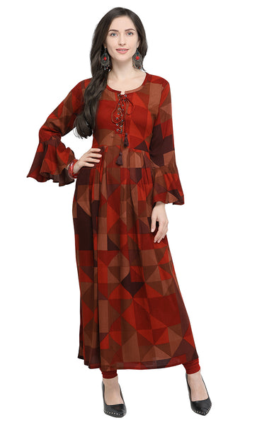 Brown Rayon Printed Kurti-Final Sale