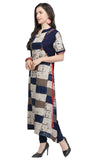Navy Blue Rayon Printed Kurti-Final Sale