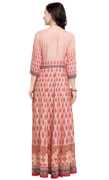 Peach Rayon Printed Kurti- Final Sale