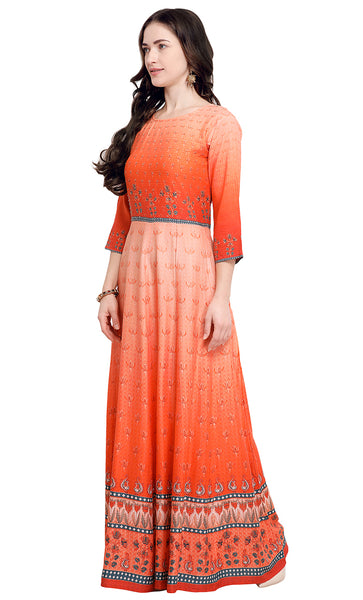 Orange Rayon Printed Kurti-Final Sale