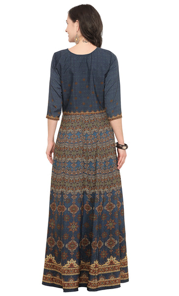 Blue Crepe Printed Kurti-Final Sale