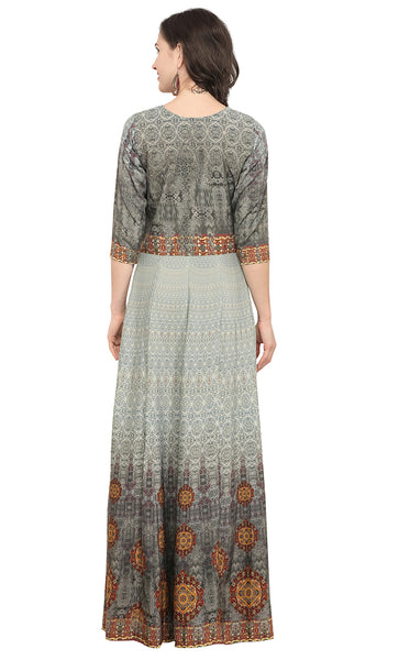 Grey Crepe Printed Kurti-Final Sale