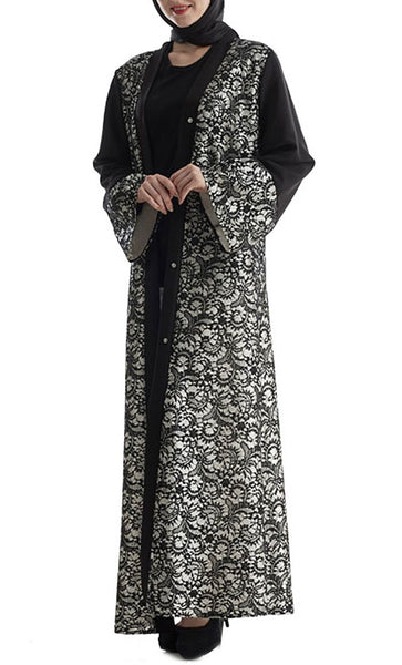 Lace Layered Bisht/ Abaya Dress- *special sizing