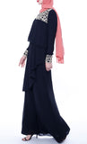 Multilayer With Lace Casual  Abaya - Black - *Size Up*