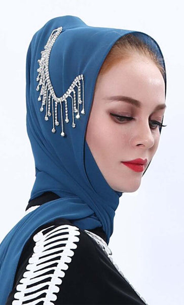 Set of 3 classic dangle crystal hijab