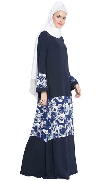 Adina Floral Print Patchwork Abaya Dress-final sale