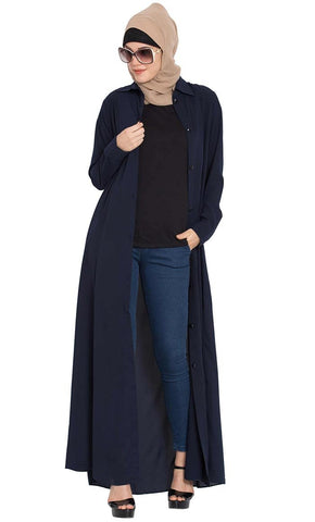 Baha-Front Open Bisht Dress With Box Pleats-Navy Blue-Final sale