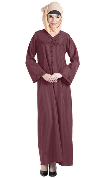 Veil embroidered A line casual muslimah abaya dress