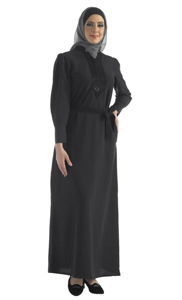 Black abaya with belt
