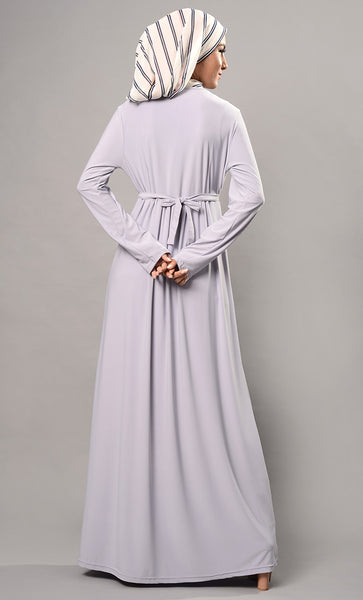 Casual Knotted Tie Up Belt And Pleated Flared Abaya Dress