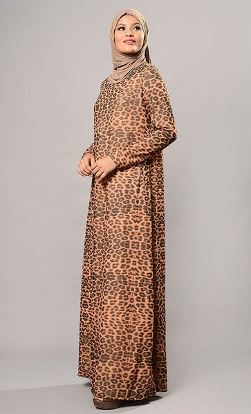 Animal print abaya dress-Final Sale