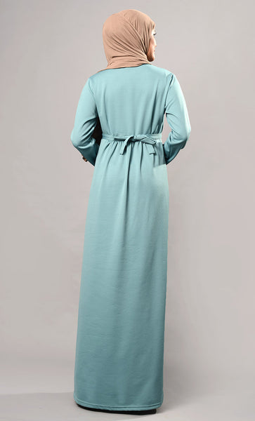 Blue everyday solid abaya dress-Final Sale