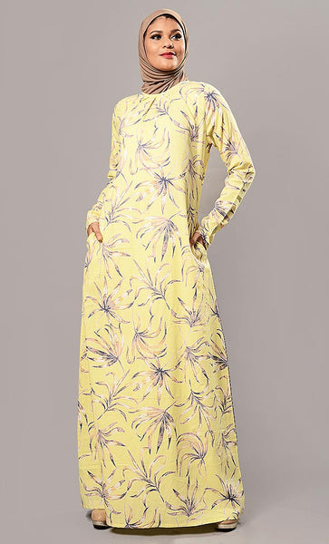 Flourish print abaya dress