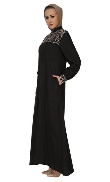 Geometric Design Embroidered Front Zipper Abaya Dress