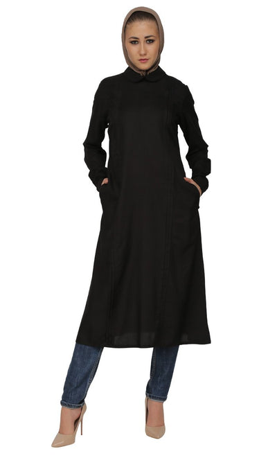 Pleated Panels And Peter Pan Collared Shirt Style Long Tunic
