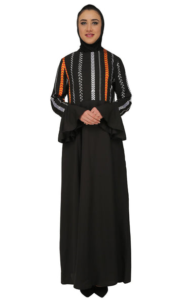 Multicolor Handworked abaya dress