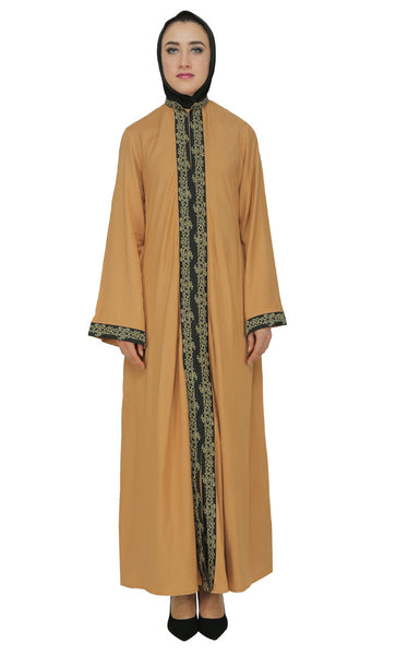 Classy Front Embroidered Lacy Abaya Dress-As Pictured