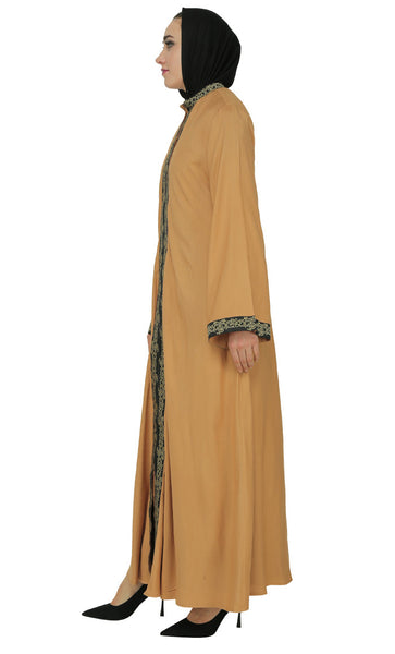 Two Tone Lace Embroidered Long Abaya Dres